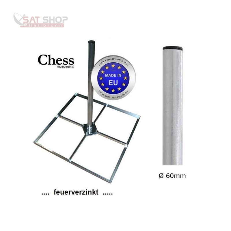 Balkonständer/ Mastfuss Holland 50x50cm feuerverzinkt für 4x Gehwegplatte (1,2m Mastlänge / Mast-Durchmesser 60mm)