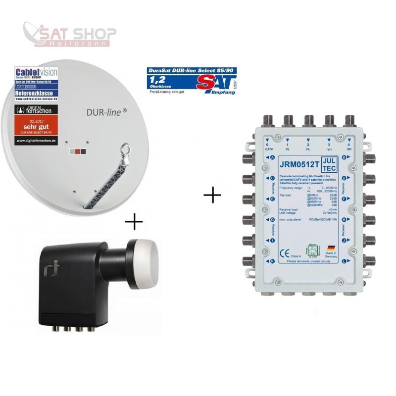 Ökö-Energie-Spar Satanlage für 12 Teilnehmer (Dur-Line 75 Select + Multischalter JULTEC JRM0512T + Inverto Quattro LNB)