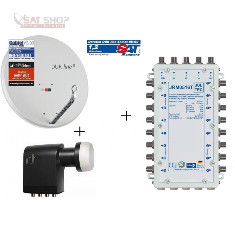 Ökö-Energie-Spar Satanlage für 16 Teilnehmer (Dur-Line 75 Select + Multischalter JULTEC JRM0516T + Inverto Quattro LNB)