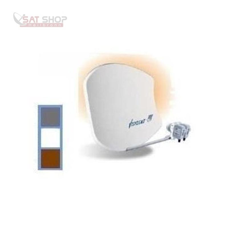 VISIOSAT BISAT G2 SMC-Multibeam Sat-Antenne für Astra + Hotbird (hellgrau / anthrazit / rot)