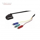 Scart - 3x CINCH YUV Verbindungskabel 2.5m HIGH QUALITY