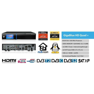 GigaBlue HD Quad Plus Linux HDTV Sat- / Hybrid Receiver DVB-S2 + DVB-C/T/T2 optional (HDD wählbar)