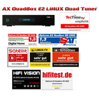 Opticum AX Quadbox HD 2400 2x DVB-C/T2 Tuner 1000GB 2.5 Festplatte