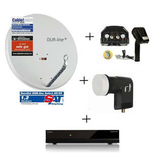 DiSEqC SAT Drehanlage mit Digitalreceiver Smart CX02 + Dur-Line 85/90 Select Antenne + PremiumX DiSEqC Motor + Inverto Black Premium Single-LNB
